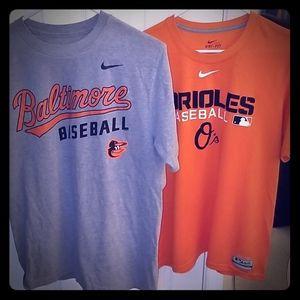 Two Nike Baltimore Orioles Shirts